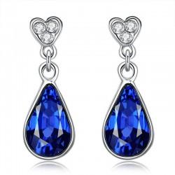 Kék kristályos, ródium bevonatú csepp fülbevaló