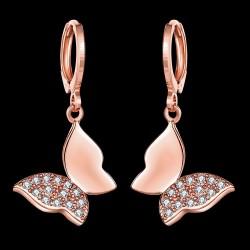 kristályos fülbevaló CZ kristályos, rózsaarany bevonatú lepke