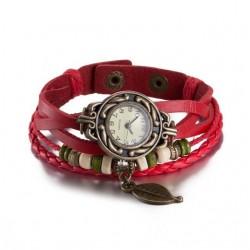 bőr karkötő Bőrből készült, antikolt karkötő óra - piros