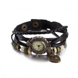 bőr karkötő Bőrből készült, antikolt karkötő óra - fekete