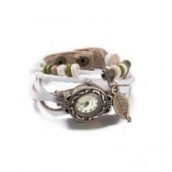 bőr karkötő Bőrből készült, antikolt karkötő óra - fehér