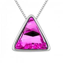 Sötétrózsaszín kristályos háromszög nyaklánc