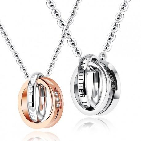 páros nyaklánc szerelmeseknek Páros gyűrű medál nemesacélból