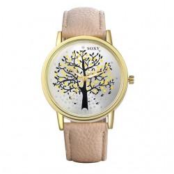 karóra óra Női divatóra őszi fa mintával - bézs