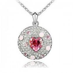 Rózsaszín kristályos kör nyaklánc
