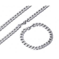 Nemesacél nyaklánc és karkötő szett férfiaknak ( 8 mm )