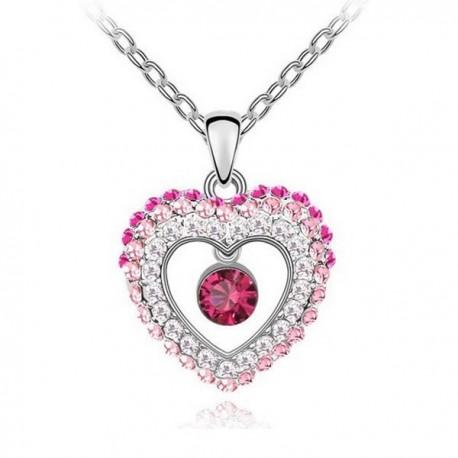kristályos nyaklánc Rózsaszín kristályos szív nyaklánc