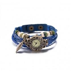 bőr karkötő Bőrből készült, antikolt karkötő óra - kék