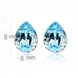 kristályos fülbevaló Kék kristályos csepp fülbevaló