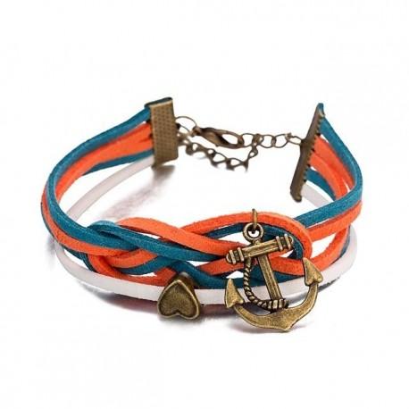 bőr karkötő Réteges műbőr karkötő - Anchor