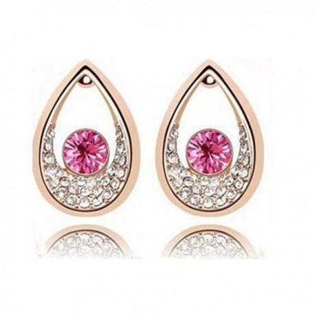 kristályos fülbevaló Rózsaszín kristályos csepp fülbevaló