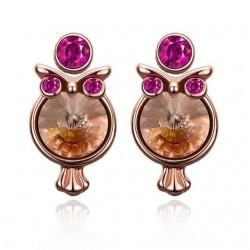 kristályos fülbevaló Gold filled, dupla fülbevaló - Bagoly
