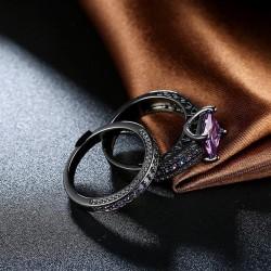 kristályos gyűrű Lila köves dupla gyűrű, fekete bevonattal
