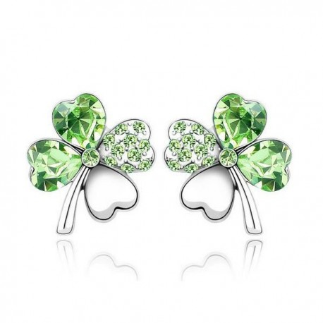 kristályos fülbevaló Zöld kristályos szerencse fülbevaló