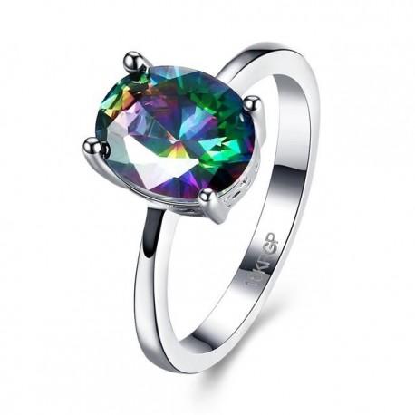 kristályos gyűrű Ovális szivárvány köves, fehérarany bevonatú