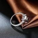 kristályos gyűrű Szivárvány négyzet köves, fehérarany bevonatú
