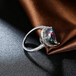 kristályos gyűrű Szivárvány csepp, fehérarany bevonatú gyűrű -