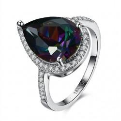 Szivárvány csepp, fehérarany bevonatú gyűrű - Mystic