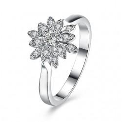 925 sterling ezüst jégvirág eljegyzési gyűrű hófehér cirkóniával