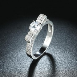 ezüst gyűrű 925 sterling ezüst masni gyűrű hófehér cirkóniával