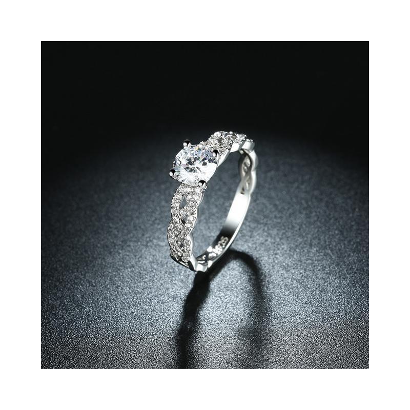 f79a9f5766 ezüst gyűrű 925 sterling ezüst, fonott eljegyzési gyűrű hófehér ...