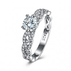 ezüst gyűrű 925 sterling ezüst, fonott eljegyzési gyűrű hófehér