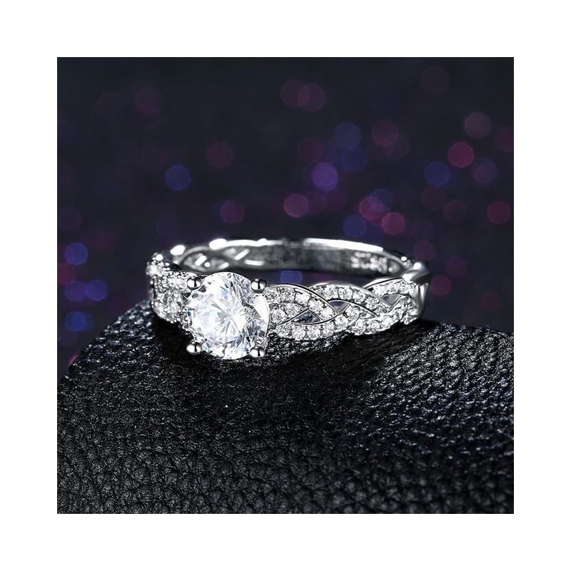 39d260cf22 ... ezüst gyűrű 925 sterling ezüst, fonott eljegyzési gyűrű hófehér