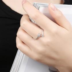 ezüst gyűrű Kristályos szív és virág, állítható 925 sterling