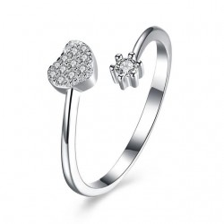 Kristályos szív és virág, állítható 925 sterling ezüst gyűrű cirkóniával