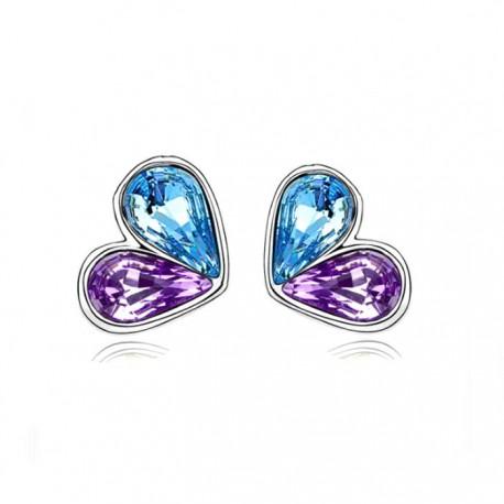 kristályos fülbevaló Színes kristályos szív alakú fülbevaló