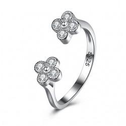 ezüst gyűrű Kristályos virágok, állítható 925 sterling ezüst