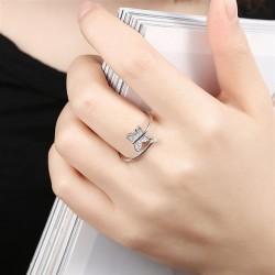 ezüst gyűrű Kristályos pillangó, 925 sterling ezüst állítható