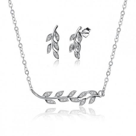 esküvői ékszerszett 925 sterling ezüst, kristályos levelek