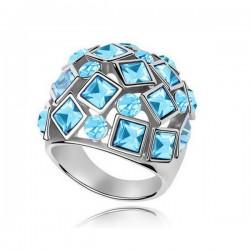 kristályos gyűrű Kék kövekkel kirakott egyedi gyűrű