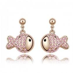 Rózsaszín kristályos halacska fülbevaló