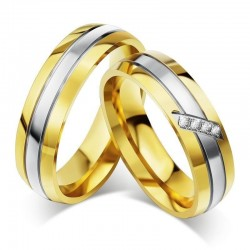 3 sávos, nemesacél férfi karikagyűrű arany bevonattal