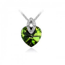 Zöld kristályos elegáns szív nyaklánc
