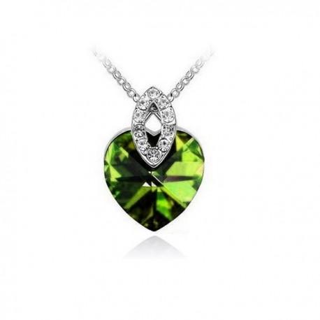 kristályos nyaklánc Zöld kristályos elegáns szív nyaklánc