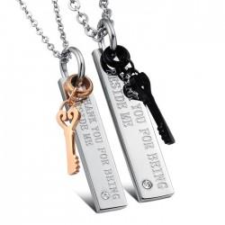 Feliratos, téglalap alakú páros medál nemesacélból, nyaklánccal - Kulcsok