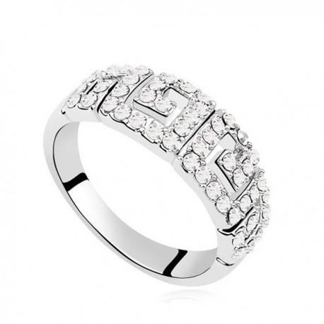 kristályos gyűrű Görög mintás, apró köves gyűrű