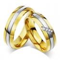 páros karikagyűrű 3 sávos, nemesacél női karikagyűrű arany
