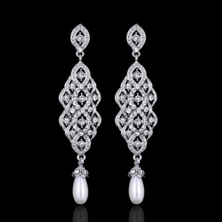 esküvői fülbevaló Exkluzív menyasszony fülbevaló kristály és