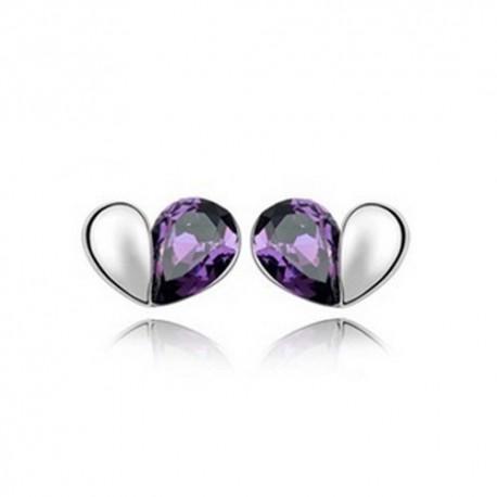 kristályos fülbevaló Lila kristályos szívecske fülbevaló