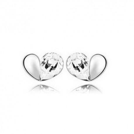 kristályos fülbevaló Fehér kristályos szívecske fülbevaló