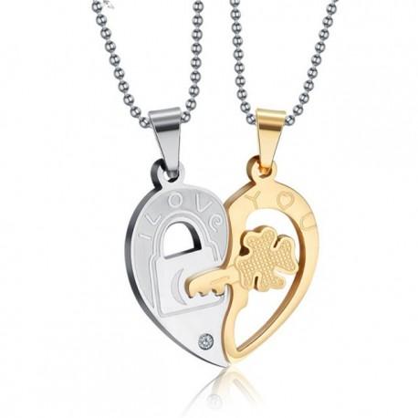 páros nyaklánc szerelmeseknek Fél szív, összeilleszthető páros