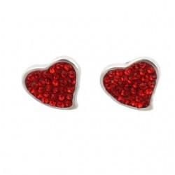 Nemesacél szív fülbevaló piros kristályokkal