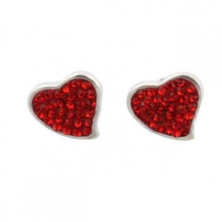 kristályos fülbevaló Nemesacél szív fülbevaló piros
