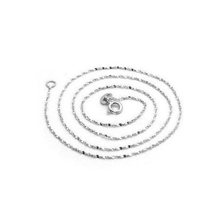 ezüst nyaklánc Lapított szemes ezüst nyaklánc ródium bevonattal