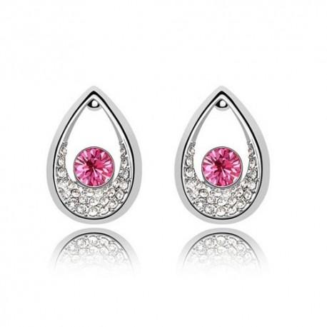 kristályos fülbevaló Rózsaszín kristályos cseppek fülbevaló