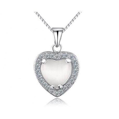 ezüst nyaklánc Ezüst szív medál cirkóniával